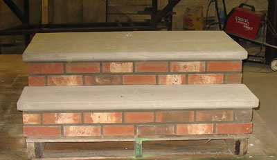 Cement Steps with Brick Veneer